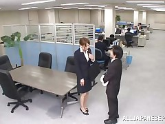 Now that is not a way to treat your work place! The slutty Japanese employee goes on the desk and pisses on it. She is a bit shy and worried about what her colleagues will think, luckily this one supports her and even more then that, he gives the slut his cock for a rub and much more. Wonder what she will do next?