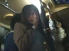 Shy Asian school girl gets fondled on the train then screwed at home