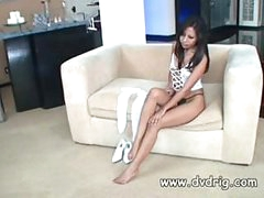 Incredible Asian Lady Nyomi Marcela Tries Out A New Pair Of Warm Stockings And Gets So Sexually excited She Starts Rubbing Her Clitoris In Delight