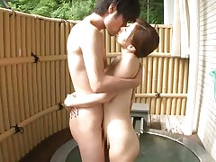 Hot japanese slut Chihiro has her pussy licked by her horny boyfriend. Then, this babe stands on her feet and kiss him previous to grabbing his hard cock with her dirty mouth. On her knees and with a dick in her mouth is the best thing for her! The bitch spreads her legs and let him stick his penis in her small vagina.