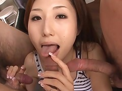 Hot Oriental mamma in heels gets bare and fucked on couch