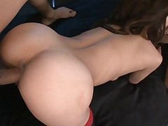 Tight cookie slut rams a obese marital-device in her bawdy cleft making it wet