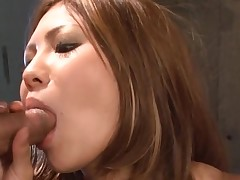 Large bra buddies Oriental gets her taut cookie thrashed in hawt group sex