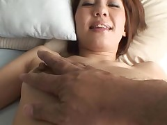 Pretty Asian mother i'd like to fuck sucks on hard schlong and her bushy cunt fingered
