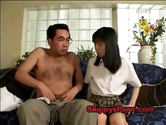 Japanese schoolgirl acquires her cum-hole licked by an older stud