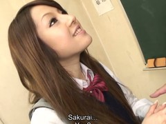 Hawt dark brown hair student Ria Sakurai receives stripped for school principal after the classes and receives her slit stimulated by dildo in advance of that babe gives head to him and other professors on her knees and getting banged hardcore in group sex session on the desk