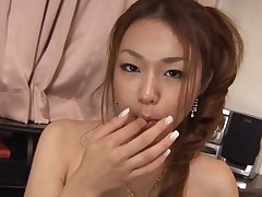 Breasty Oriental gal with curly muff feels dick and slit in hole